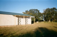 40x60x14, 6' lean-to. light stone walls fern green roof and trim.