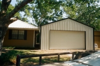 24x30x10, white walls and roof, black trim